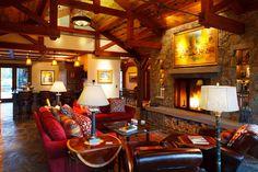 #FireplaceFriday  www.tetonheritagebuilders.com  Jackson Hole Golf & Tennis Great Room