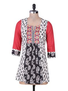 Buy Rain And Rainbow White Embroidered Cotton Top Online, , LimeRoad