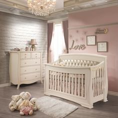 "The Bella convertible crib to double bed in Linen with new White colored Italian styled tufted panel.  Shown here with the Bella 5 drawer dresser in Linen.  The tufted panel is sold separately and available in Platinum bronze or White. This new tufted panels offers a new stunning finish to this already very elegant crib. This sophisticated look will grow along with your child's needs and desires making it a perfect ""big kid"" & teenager's room.  Please visit our website www.natartjuvenil..."