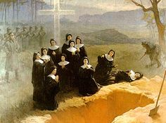 """The Eleven Nuns of Nowogrodek were executed by the Gestapo in 1943. The Sisters unanimously expressed a desire to their chaplain to offer their lives in sacrifice for the imprisoned to spare those who had families. When the life of their chaplain Father Zienkiewicz was threatened, the Sisters renewed their offer, saying, """"There is a greater need for a priest on this earth than for us. We pray that God will take us in his place, if sacrifice of life is needed."""""""