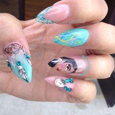 Disney Pocahontas tribal stiletto nails