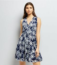 Blue Vanilla Navy Floral Print Dress | New Look