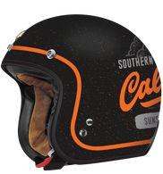 Torc DOT Motorcycle Helmet with Flat Black West Coast paint scheme - Side View Open Face Helmets, Riding Helmets, Biker Helmets, Motorcycle Helmet Design, Scrambler Motorcycle, Motorcycle Garage, Motorcycles, Retro Helmet