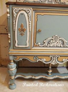 """""""This ornate vintage cabinet was hand-painted in General Finishes Persian Blue…"""