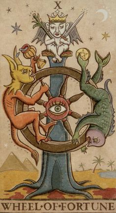 10 – X – Ruota – Wheel of Fortune – Roue de Fortune – fortuna o stagione o sfing… - The tarot is a pack of playing cards Wheel Of Fortune Tarot, Medieval Drawings, Fortune Cards, Alchemy Art, Tarot Major Arcana, Tarot Learning, Tarot Card Decks, Occult, Graphic Illustration