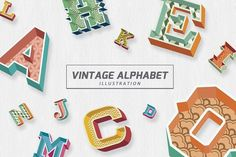 Vintage Alphabet Illustration by VL Shop on @creativemarket
