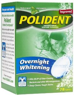 POLIDENT TAB OVERNIGHT 78Tablets. Kills 99.9% of bacteria. Anti-bacterial. Deep cleans tough stains. For better odor control and a brighter, whiter smile, use Polident every night! Win a one-year supply of Polident. Fights odor. Deep cleans dentures overnight; controls denture odorRemoves tough stains and whitensContains minty mouthwash ingredient for freshness1 tablet per use; effervescentPlease read all label information on delivery. Even if you brush your dentures every day.