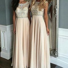 Luxurious A-Line Scoop Sleeveless Long Prom Dress with Beading deaef093598b