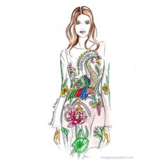 Fashion illustration, illustration, fashion sketch, sketch, fashiondraw, draw watwercolor, embroidery, velvet, velluto, Gucci, Fashion| Tropical style…