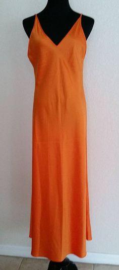 Natori Neiman Marcus Large Orange Satin Nightgown Backout Elegant #Natori #Gowns