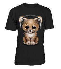 tshirt Cute Lion Cub Dj Wearing Headphones