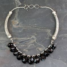 Onyx Choker Sterling Silver Necklace Handmade India - Regal India   NOVICA
