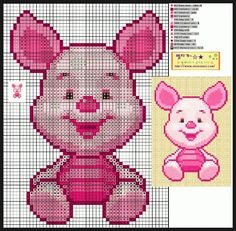 Free Cute Piglet Cross Stitch Chart or Hama Perler Bead Pattern