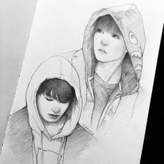 """Taekook in hoodies, since I needed some motivation to draw :> for some reason I haven't been able to get myself to draw this whole week... but I'll…"""