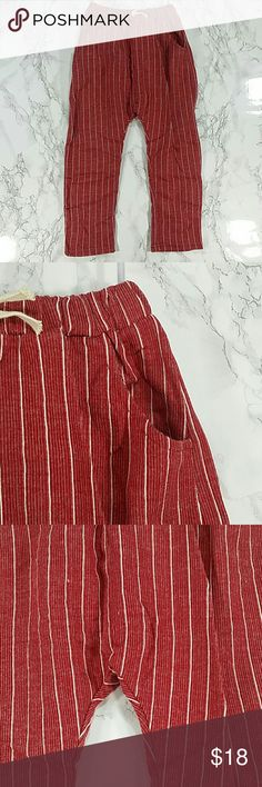 Maroon Pin Stripes jogger pants. Kids Adorable and comfortable jogger pants in maroon and white pinstripes.  Have pockets Pull up style.  This item is brand new and never used.  #13602 Bottoms Sweatpants & Joggers