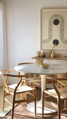 Tulip table, wishbone chairs and hand made ceramics. - Tulip table, wishbone chairs and hand made ceramics. Dining Room Inspiration, Interior Inspiration, Contemporary Living, Modern Living, Farmhouse Side Table, Farmhouse Ideas, Mid Century Modern Furniture, Mid Century Modern Dining Room, Dining Room Modern