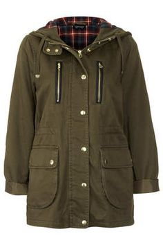 Topshop Petite Hooded Lightweight Jacket- a funky jacket to wear with those winter boots, jeans and a thick woolly jumper inside. Khaki Jacket, Brown Jacket, Cotton Jacket, Pretty Outfits, Cool Outfits, Winter Outfits, Blazers, Topshop Style, Lightweight Jacket