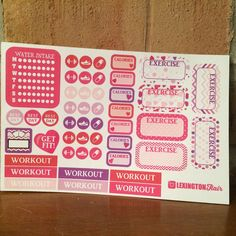 SALE 40% OFF Set of (46) Sweet Valentine Weekly Exercise Variety Set of Planner Stickers for your Eclp, Plum Paper Planner, Filofax, Kikki K