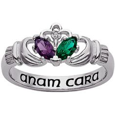 I love this....Personalized Couple's Birthstone and Diamond Accent Claddagh Ring in Rhodium-Plate