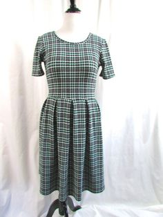 LulaRoe Amelia Houndstooth Plaid Dress Black White Mint Size Large L #LuLaRoe #Shift #WeartoWork
