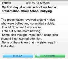 Omg when I read this it just made my heart drop it's sad how bullies can just take over u by just saying one little thing that might be so big and hurt you where your heart is. stop bullying! Stories That Will Make You Cry, Sad Love Stories, Touching Stories, Sweet Stories, Cute Stories, Beautiful Stories, Try Not To Cry, Gives Me Hope, Faith In Humanity Restored