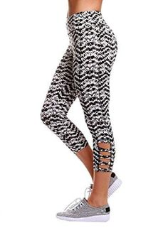 Aleumdr Womens Pattern Printed Strappy Cut Out Side High Waist Short Pants Capri Cropped Leggings