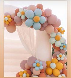 Pastel Balloons, Balloon Flowers, Balloon Arch, Balloon Garland, Balloon Ideas, Balloon Bouquet, 1st Birthday Parties, Birthday Celebration, Girl Birthday