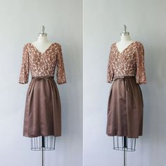 1950's cocktail dress / vintage 50's lace dress / Mocha Satin