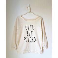 Cute but Psycho Tshirt Funny Tshirt Text Shirt Cool Shirt Teen Off... ($22) ❤ liked on Polyvore featuring tops, hoodies, sweatshirts, black, women's clothing, raglan sweatshirt, raglan sleeve sweatshirt, off the shoulder shirts, off shoulder shirt and checkered shirt