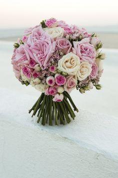 pink rose wedding bouquet; photo: Nikos Gogas
