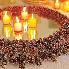 Mirrored pine cone centerpiece...nice warm look