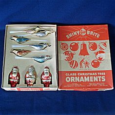Box 1940s Shiny Brite Plastic Christmas Ornaments