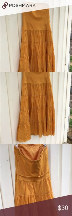 Mustard Yellow Laundry Strapless Dress Beautiful mustard yellow Laundry strapless dress. Has Rick rack detailing and a matching beaded waist belt/ tie. Has boning and size zipper. Fits a size 8/ M to L. In perfect condition- no rips, stains, or tears. Laundry By Shelli Segal Dresses Strapless