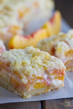 1 package of white or yellow dry cake mix cup butter, room temperature 2 large eggs, divided… 29 ounce can of peach slices, drained 8 ounces of Cream Cheese, room temperature cup of sugar 1 teaspoon Vanilla Extract Preheat oven Fruit Recipes, Sweet Recipes, Dessert Recipes, Cooking Recipes, Cooking Food, Yummy Recipes, Skinny Recipes, Quick Recipes, Fresh Peach Recipes