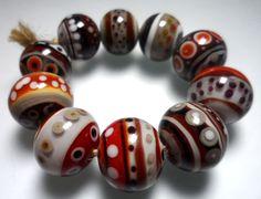 Perle de Lampwork.Glass à la main.Perles rouge par Glasskaramelka, $40.00