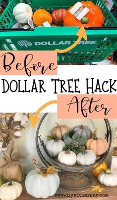 Try this easy Dollar Tree Hack to turn cheap pumpkins into Pottery Barn inspired Farmhouse Pumpkins. The most gorgeous cheap fall decor you will find! diy Cheap Fall Decor DIY Farmhouse Pumpkins- Dollar Tree Hack - DIY With My Guy Dollar Tree Decor, Dollar Tree Crafts, Dollar Tree Fall, Dollar Tree Pumpkins, Fall Home Decor, Autumn Home, Dyi Fall Decor, Seasonal Decor, Fall Apartment Decor