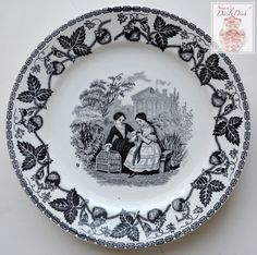 Antique Faience Black Transferware Plate Mother & Daughter w/ Pet Bird & Cage - Strawberry Border no. 9