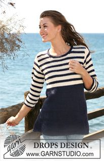 "Knitted DROPS Tunic with navy stripes in ""Alpaca"". Size S - XXXL. ~ DROPS Design"