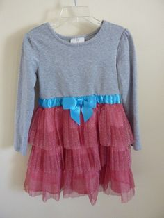 743c8e3222c HANNA ANDERSSON GIRLS GRAY KNIT DRESS WITH RED TULLE SKIRT~MINT CONDT~SIZE  110