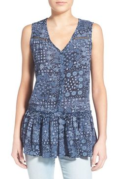 Free shipping and returns on Sun & Shadow Print Peplum Tank at Nordstrom.com. Pleated shoulders, open-stitched accents and a mottled paisley print define a swingy V-neck top sweetened with a ruffly peplum hem.