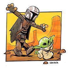The Mandalorian and The Child aka Baby Yoda (Star Wars) - Brian Kessinger Star Wars Fan Art, Star Wars Meme, Calvin Und Hobbes, Arte Nerd, Clone Wars, In Kindergarten, Pixar, Nerdy, Fanart