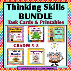 THINKING SKILLS BUNDLE  GRADES 58 FIVE FUN SETS with Creative and Critical Thinking Activities The Thinking Skills Bundle  Grades 58   is chocked full of fun, creative, thought-provoking Task Cards  and Printables  to get your students thinking outside the box.