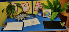 "A super workstation for Key Stage 1, ""can you draw a dinosaur?""  Lots of models on hand along with drawing materials to inspire a child with their dinosaur drawing."