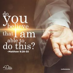"""Matthew 9:28-30 (NKJV) 28. And when He had come into the house, the blind men came to Him. And Jesus said to them, """"Do you believe that I am able to do this?"""" They said to Him, """"Yes, Lord."""" 29. Then He touched their eyes, saying, """"According to your faith let it be to you."""" 30. And their eyes were opened. And Jesus sternly warned them, saying, """"See that no one knows it."""" We have to come to God in faith for ourselves before we can expect to receive His blessings. www.faithdome.org"""