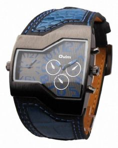 OULM Men's Military Oversize Multi TimeZones 2 Dials Leather Analog Sports Wrist Watch HP1220B Blue Band Blue Face by Oulm -- Awesome products selected by Anna Churchill