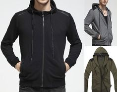Men's Hoodie with PU Leather Details