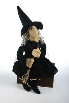 Primitive Hilda witch doll with broom