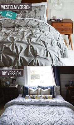 Sew a pintuck duvet cover. | 24 West Elm Hacks. This is beautiful, but am I dedicated enough to do this??
