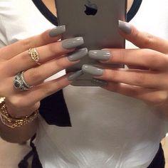 Nice long grey acrylic nails