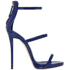 Giuseppe Zanotti Design Women 110mm Metallic Leather Sandals ($765) ❤ liked on Polyvore featuring shoes, sandals, blue, metallic sandals, giuseppe zanotti, leather sole shoes, real leather shoes and genuine leather shoes